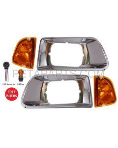 Kenworth T300 Combo - 4 Pieces - Headlight Bezel Chrome with Turn Signal Corner Lamp - Driver & Passenger Side