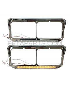 Headlight Bezel with 12  Clear/Amber LED Light Strip Chrome - Passenger Side (Fit: Kenworth, Peterbilt, Western Star, Freightliner Truck)