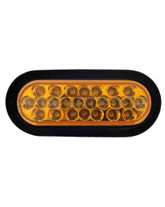 6  Oval 24 Diodes Amber/Amber LED Stop Turn Tail Truck Light with Rubber Grommet