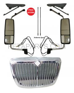 International ProStar Combo - 3 Pieces - Grille Chrome with Bug Net & Door Mirror Power Heated Chrome with Turn Signal and Arm - Driver & Passenger Side