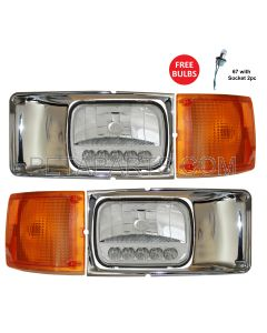 Headlight Reflector High/Low Beam LED with Bezel Chrome and Corner Turn Signal Light - Driver and Passenger Side (Fit: International 3800 4700 4800 4900 8100 8200 1995-2004 Truck)
