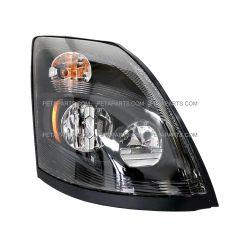 LED Headlight Assembly Black  - Passenger Side (Fit: 2004-2018 Volvo VNL VN VNM)