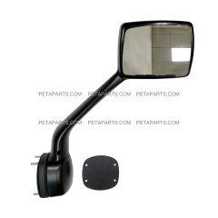 Hood Mirror Chrome with Mounting Kits - Passenger Side (Fit: Kenworth T680  Peterbilt 579 587 Trucks)