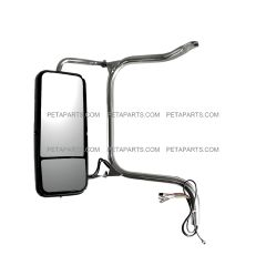 Door Mirror Heated Stainless with Arm and Chrome Cover - Driver Side Fit: ( after 2005 Peterbilt ) 335 340 357 382 385 386 325 330 348 388 389 365 367 Truck