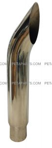 6  Curved Cut Polished Stainless Exhaust Stack 5  OD Inlet 36  Long
