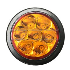 "2.5"" Round 7 Diodes Amber/Amber LED Stop Turn Tail Truck Light with Rubber Grommet & Pigtail (Fit: Universal And Various Other Trucks)"