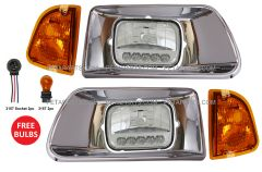 Headlight LED with Chrome Bezel and Turn Signal Corner Lamp - Driver & Passenger Side (Fit: Kenworth T300 T330 Truck)