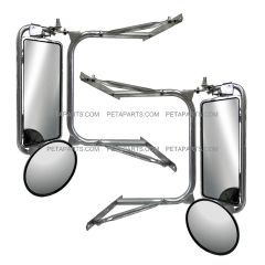 Door Mirror Heated Stainless with Arm - Driver and Passenger Side Fit: (  Before 2005 Peterbilt ) 377 357 359 385 375 379 281 351 330 348 Truck