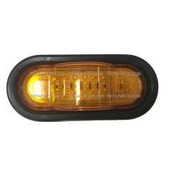 "6"" Oval Amber/Amber 36 Diodes LED Mid-Ship Turn Signal Marker Light With Grommet and Right Angle 3-Pin Plug"