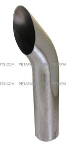 5  Curved Cut Polished Stainless Exhaust Stack 5  OD 24  Long