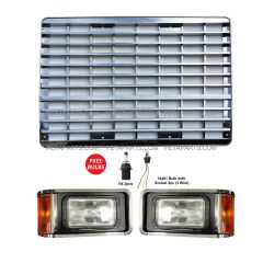 Grille Chrome and Headlight Set  - Driver and Passenger Side (Fit: Mack CH613 2000 till 2017)