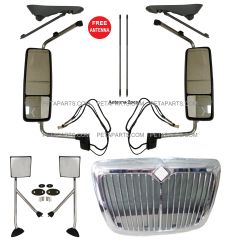 International ProStar Combo - 5 Pieces - Grille Chrome with Bug Net & Door Mirror Power Heated Chrome with Turn Signal and Arm & Hood Mirror with Stainless Arm - Driver & Passenger Side