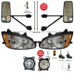 6 Item Combo - Door Mirror with Headlight and Fog Lamp - Driver and Passenger Side (Fit: Kenworth T660)